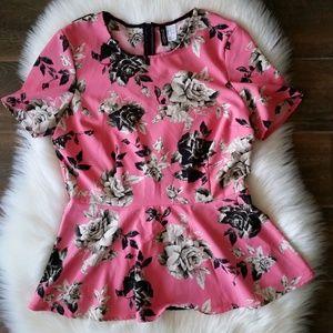 H&M Divided Pink/Black/White Roses Peplum Blouse